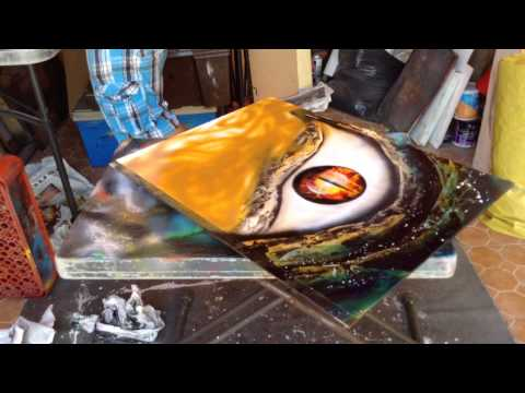 Godzilla eye spray art