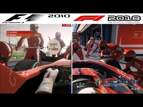 F1 Game Comparison (2010 - 2018 PIT Stop Gameplay Comparison)