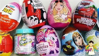ABC SONG Surprise Eggs Lightning McQueen Barbie Frozen Elsa Minnie Mouse Little Pony Kinder Surprise