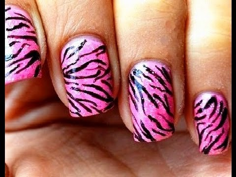 Pink tiger nail art designs easy youtube do it yourself nails step by