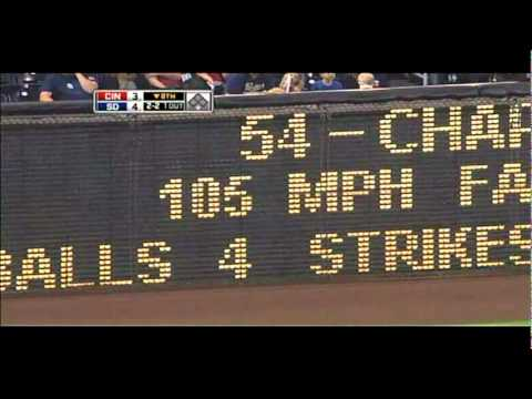 Aroldis Chapman 105 mph pitch vs. the Padres 9/24/2010