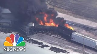 Watch: Smoke Billows From Derailed Train On Fire In Illinois | NBC News