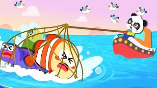 Baby Panda Learn &  Explore The Sea | Happy Fishing - Learn about Sea Animals | Babybus Kids Games