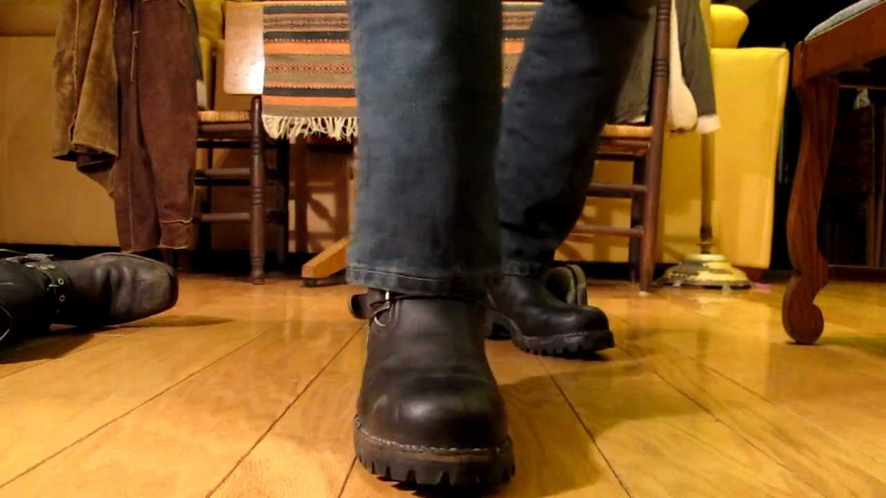 wesco engineer boots and barefeet beat up harness boots