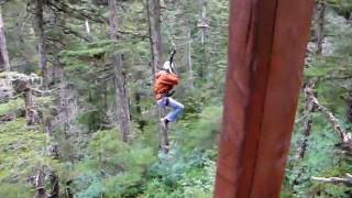 Alaska ZipLine Adventures Levi backwards