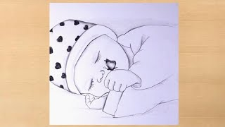 pencil drawing of sleeping Baby with Butterflybaby drawing