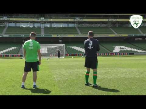 Robbie Keane, Roy Keane & Steve Guppy try the Crossbar Challenge