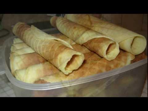 Хрустящие вафельные трубочки (в вафельнице и на сковороде)