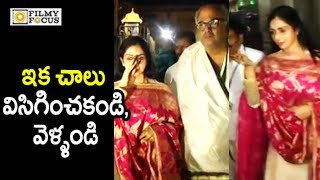 Sridevi Irritated by Media at Tirumala || SriDevi Visits Tirumala with Husband Boney Kapoor