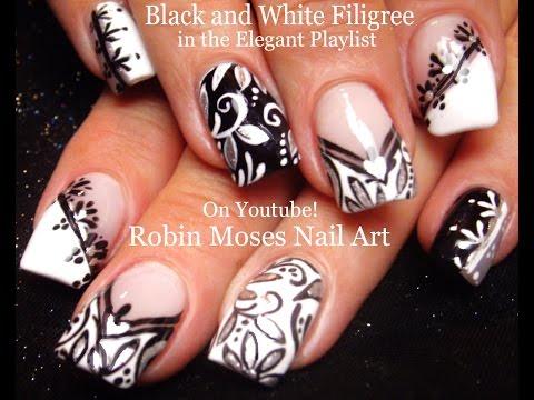 Nail Art | Black And White Nails! | Mix And Match Filigree Nail Design Tutorial!