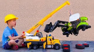 Trucks Broken down and Damian calls Darius for helping Fix the Tractors with Bruder Crane Toys