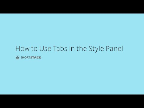 How to Use the Style Panel Tabs
