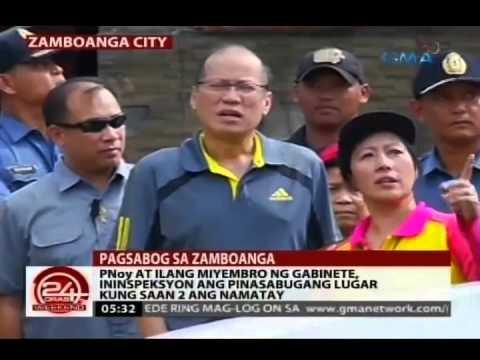 24 Oras: Pnoy, Ininspeksyon Ang Pinasabugang Lugar Sa Zamboanga City video