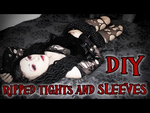 Goth DIY - Ripped Tights and Sleeves   Toxic Tears