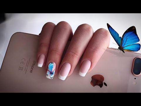 SIMPLY THE BEST NAILS EXTENSIONS TECHNIQUE AND MANICURE TUTORIAL WITH BUTTERFLY NAIL ART DESIGN 2018