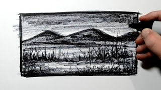 Real Time Mini Landscape Sketch - Using a Sharpie Marker Pen
