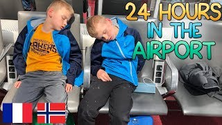 24 Hours Stuck in a Plane & Airport - Twins Travel With No Mom!! Norway Vlog 1
