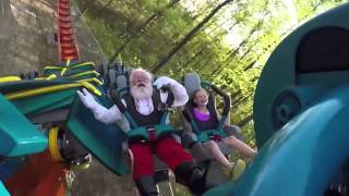 Santa Claus riding Thunderbird roller coaster at Holiday World theme park
