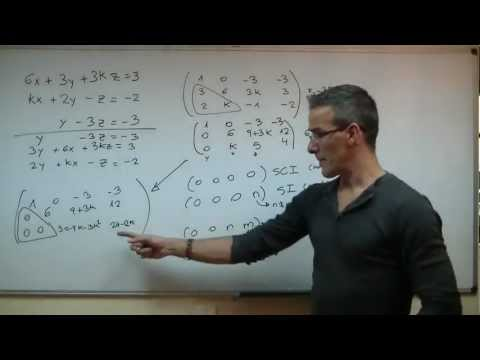 Discutir un sistema 03 2ºBACHI unicoos Reduccion Gauss Jordan