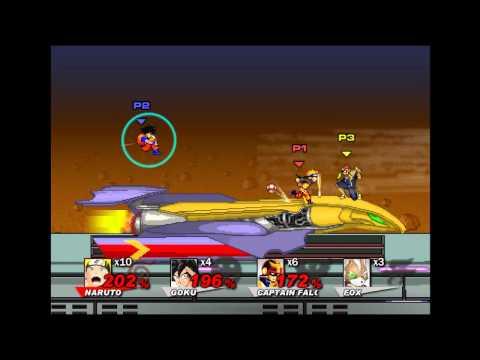 Super Smash Flash 2 v0.8 - User Request - FFA - Naruto vs Goku vs Captain Falcon vs Fox