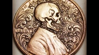 Hand engraving from start to finish Skull and Scrolls Lincoln Cent