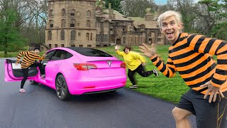 MYSTERY NEIGHBOR STOLEN TESLA LEADS US to SECRET MEMORY CARD EVIDENCE at HIDDEN CASTLE!!