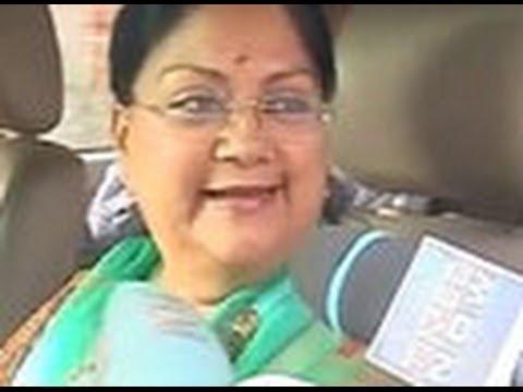 Rajasthan CM Vasundhara Raje hopeful of a clear win