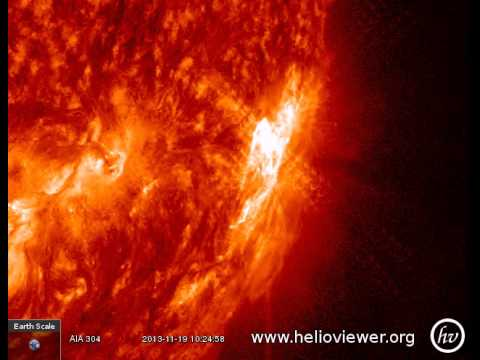 X1.0 class solar flare - Eruption on sunspot 1893, east of Sun (November 19th, 2013) - Video Vax