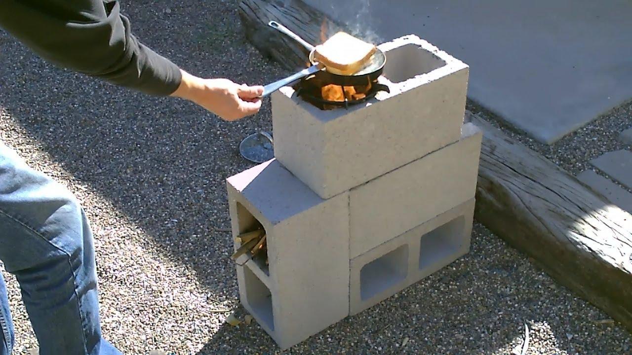The Quot 4 Block Quot Rocket Stove Diy Rocket Stove Concrete