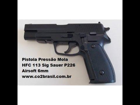 Pistola de Pressão Mola HFC 113 Sig Sauer P226 Airsoft 6mm co2brasil