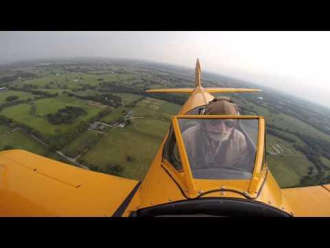 George Smith flies 1945 Navy Stearman biplane