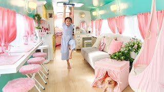 Bug Incredible School Bus Converted into Barbie Style Tiny House!