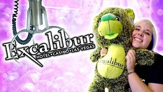 BIG claw machine wins and carnival games at Excalibur arcade in Las Vegas!