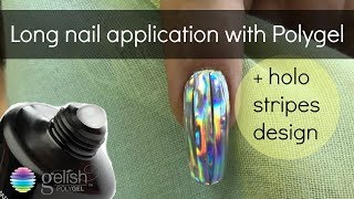 How to: Gelish Polygel on forms & holo disco stripes design tutorial