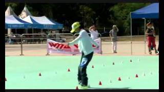 Girl dancing on roller skates. Slalom. charms, look and you can not come off.