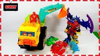 câu cá bằng xe cẩu xe máy xúc Robot mãnh thú siêu nhân gao đồ chơi trẻ em toy for kids