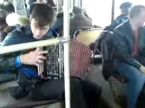 Гармонист отжигает в троллейбусе