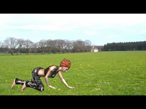 green screen Test - sexy girl on grass sleeps gets up and goes off - free green screen HD