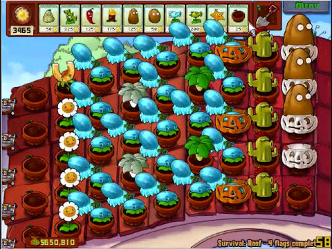 Plants vs. Zombies survival roof