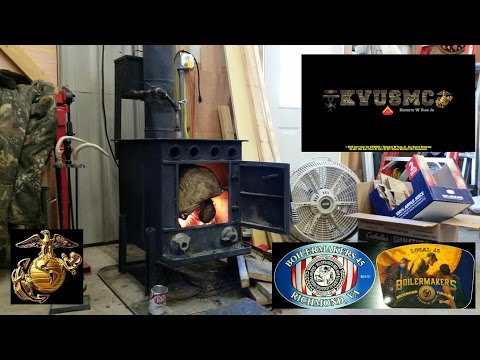 HYBRID WOOD STOVE / WASTE OIL FURNACE  THE VIAR 94' IN OPERATION By KVUSMC