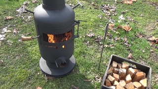 home made firepit fired up
