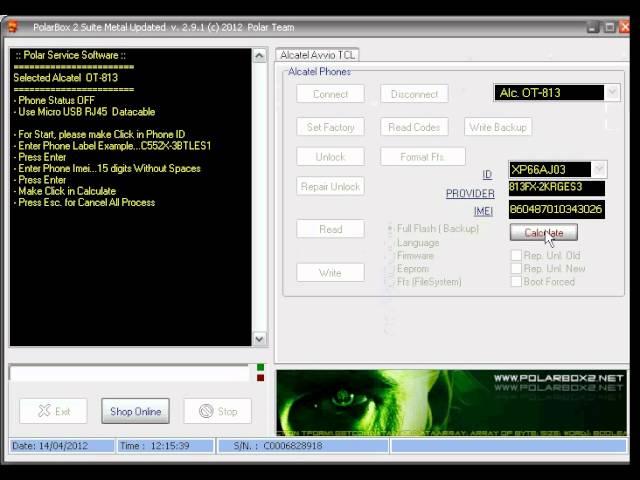 Unlock Alcatel OT-813 con Polar Box 2.9.1 -- unlockeasy.com