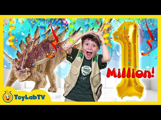 Giant 1 Million Subscribers Celebration  Toy Hunt for Dinosaur Surprise Toys from ToyLabTV