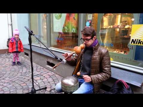 Street musician in Riga, Latvia