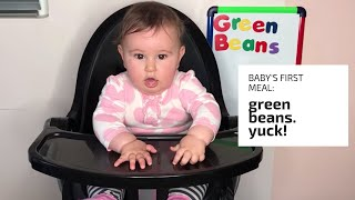Day 1: baby eating food for the first time - green beans pt. 1