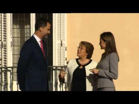 SS.MM. los Reyes reciben a la presidenta de Chile en su Visita de Estado a España