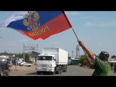 Russian aid convoy arrives in Luhansk in eastern Ukraine