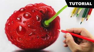 Draw CHERRY with Colored pencils | Tutorial for BEGINNERS