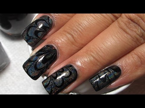 Black Creme & Holo Water Marble Nail Art Tutorial