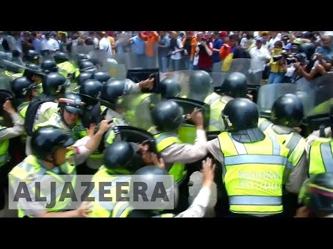 Protesters and police clash in Venezuela